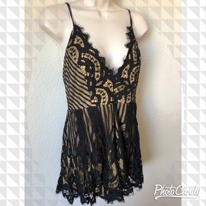 NWT! Lacey black and nude romper!