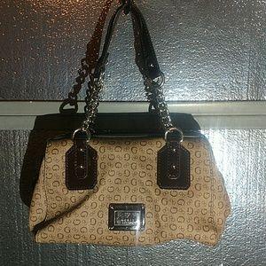 Large Guess coated canvas jaquard handbag