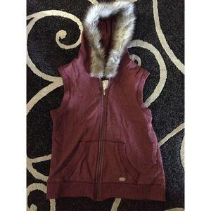 Burgundy faux fur knit vest