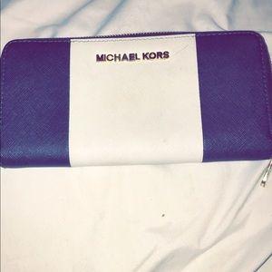 Michael kors navy and white wallet cheaper on mer