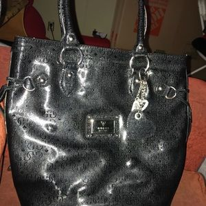 Black Leather Guess Purse Authentic