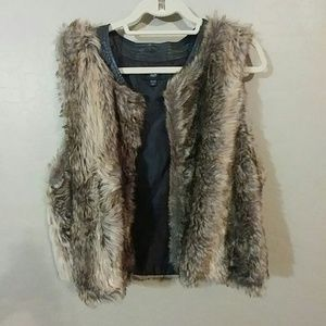 Faux Fur Vest with Faux leather collar lining