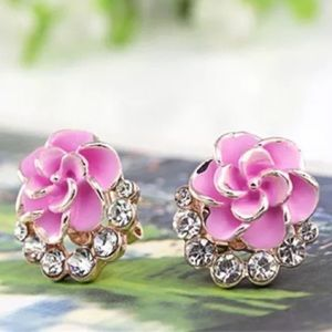 Gold Pink Rose CZ Earrings