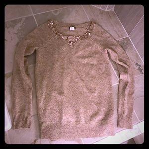 J Crew XS tan oatmeal sequin collar sweater top