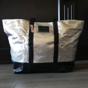 Victoria's Secret Silver & Black Getaway Bag