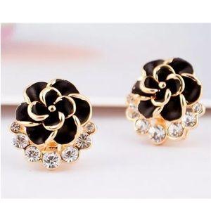 Gold Black Rose CZ Earrings