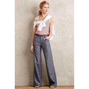 Anthropologie Pilcro gray linen wide leg pants