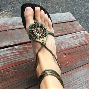 Beaded leather sandal