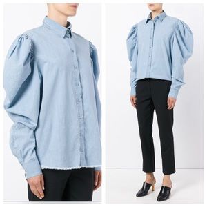 Marques' Almeida Chambray Puff Sleeve Shirt