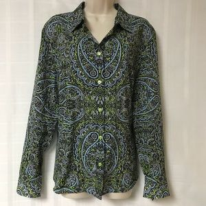 Jones New York Vibrant Pattern Top Size XL