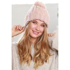 *PREORDER* New pink blush Cable Knit Pom Beanie