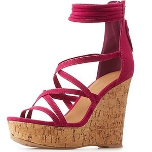 Strappy Faux Suede Wedge Sandals