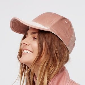 FREE PEOPLE Lady Luck Velvet Baseball Cap