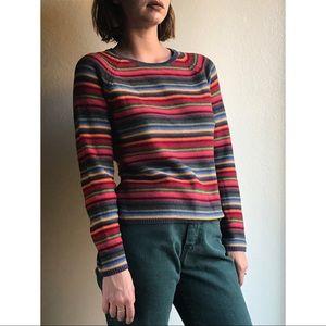 Vintage✨Rainbow striped cotton sweater