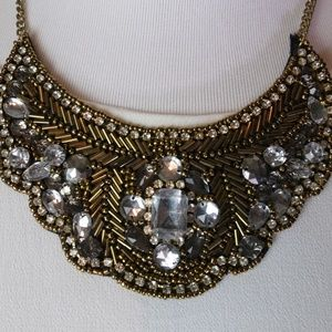 statement necklace - black & gold beading