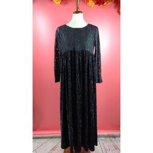 Vtg 90s Goth Grunge Boho Lace Velvet Maxi Dress M