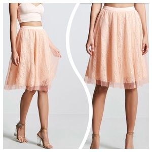 Floral Lace Skirt with Tulle Overlay