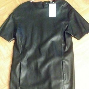 Black leather dress with side pockets
