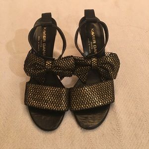 Black and gold sateen heels
