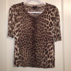 Talbots leopard print half sleeve cardigan size M