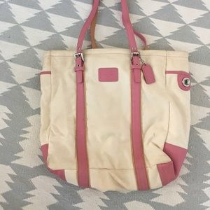 Women's Coach Canvas and Pink Leather Shoulder Bag