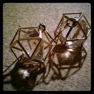 Quadecahedron Caged Crystal Earrings