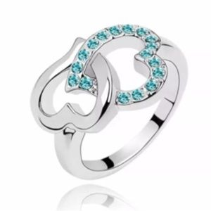 Jewelry - White Gold Filled Double Heart Blue CZ Ring
