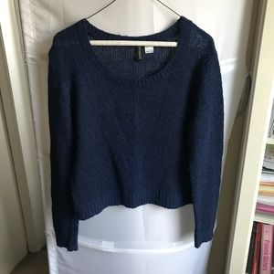 H&M blue Knit crop sweater