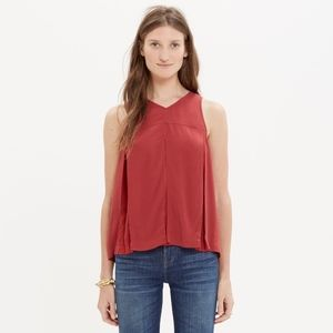 Madewell Trapeze Crop Swing Tank Red Size 6