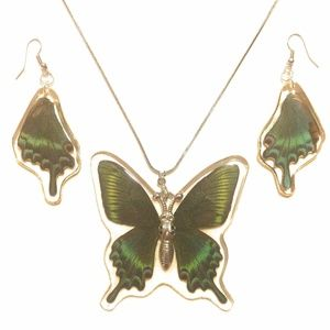 Alpine Black Swallowtail Earrings & Necklace Set