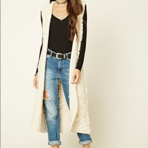 Hooded Chunky Knit Cardigan Vest Top