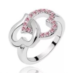 Jewelry - White Gold Filled Double Heart Pink CZ Ring