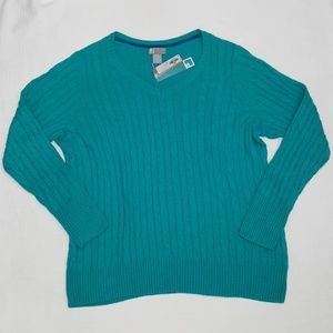 NWT JCP Turquoise Cable Knit Sweater - 3X