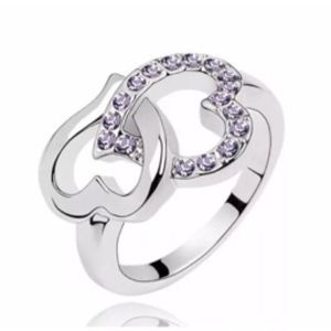 Jewelry - White Gold Filled Double Heart Purple CZ Ring