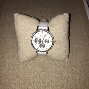 Women's White Leather Kenneth Cole Watch