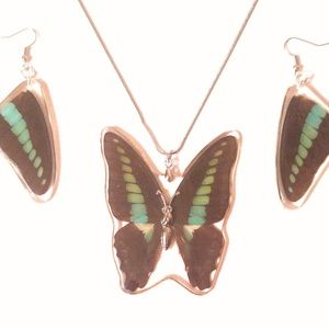 Blue Bottle Swallowtail Necklace & Earrings Set