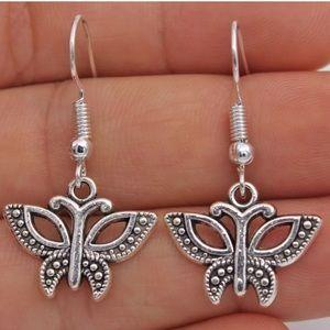 Simple Silver Butterfly Earrings