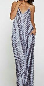Tie Dye Gray White Maxi Dress