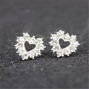 Simple Silver Heart CZ Earrings