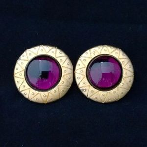 Purple and gold clip on earrings