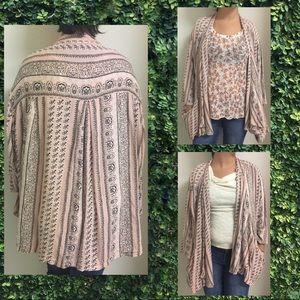 (M) Écote printed pink kimono wth pockets cardigan