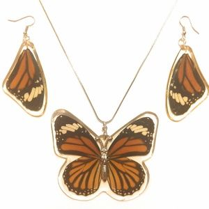 Striped Tiger Real Earrings & Necklace Set