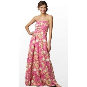 Lilly Pulitzer Green Hottie Pink Floral Maxi Large