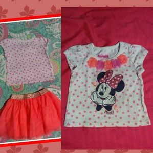 Minnie mouse skirt and shirt set✨