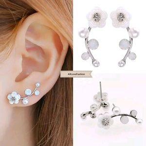 Jewelry - Flower & Pearl Ear Climber Crawler Earrings