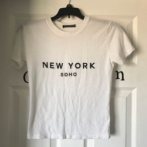 Brandy Melville One Size NY Soho White Crop Top