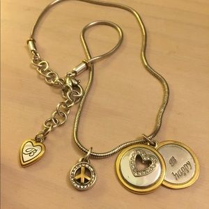 Brighton necklace be happy silver gold heart peace
