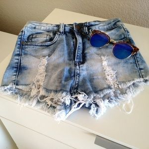 Destroyed high waisted denim shorts