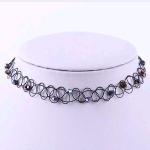 Rainbow Jewel Tattoo Stretch Choker Necklace