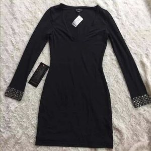 NWT Bebe Black Dress w Rhinestone Cuffs